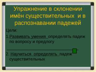 Упражнение в склонении имён существительных и в распознавании падежей Цели: Р