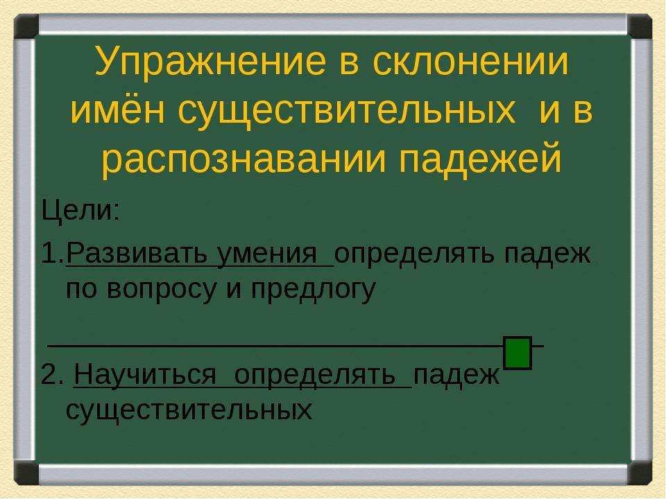 Упражнение в склонении имён существительных и в распознавании падежей Цели: Р...