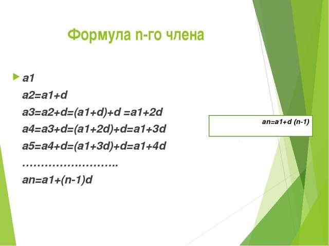 Формула n-го члена a1 a2=a1+d a3=a2+d=(a1+d)+d =a1+2d a4=a3+d=(a1+2d)+d=a1+3d...