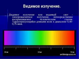 Видимое излучение. Видимое излучение или видимый свет - электромагнитное излу