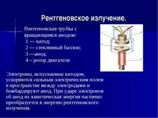 Рентгеновское излучение. Рентгеновская трубка с вращающимся анодом: 1 — катод