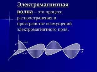 Электромагнитная волна – это процесс распространения в пространстве возмущени