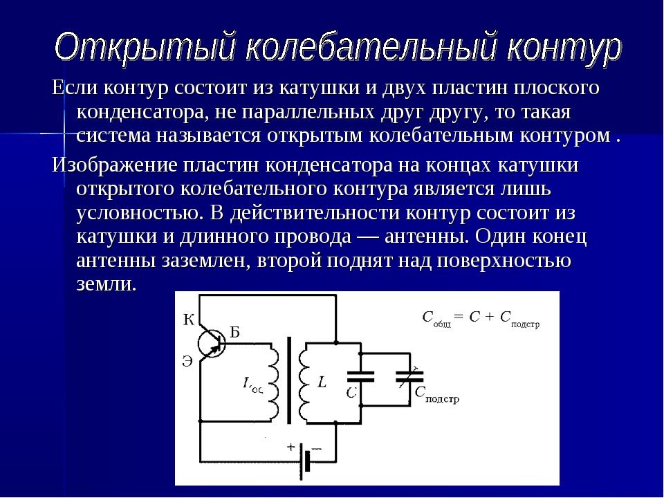 Если контур состоит из катушки и двух пластин плоского конденсатора, не парал...