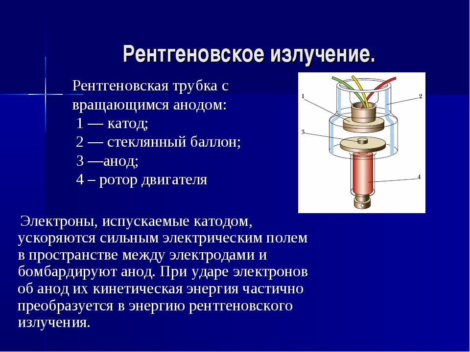 Рентгеновское излучение. Рентгеновская трубка с вращающимся анодом: 1 — катод...