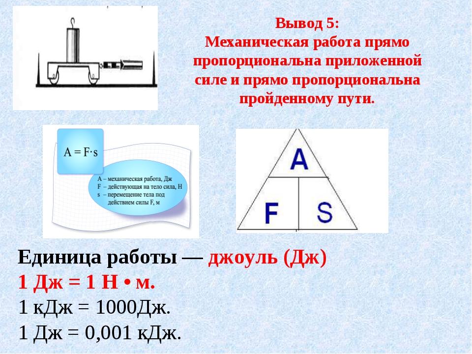 Вывод 5: Механическая работа прямо пропорциональна приложенной силе и прямо п...