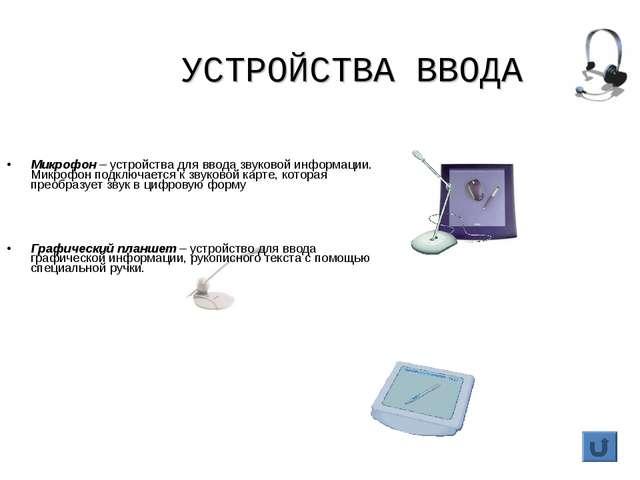 УСТРОЙСТВА ВВОДА Микрофон – устройства для ввода звуковой информации. Микрофо...