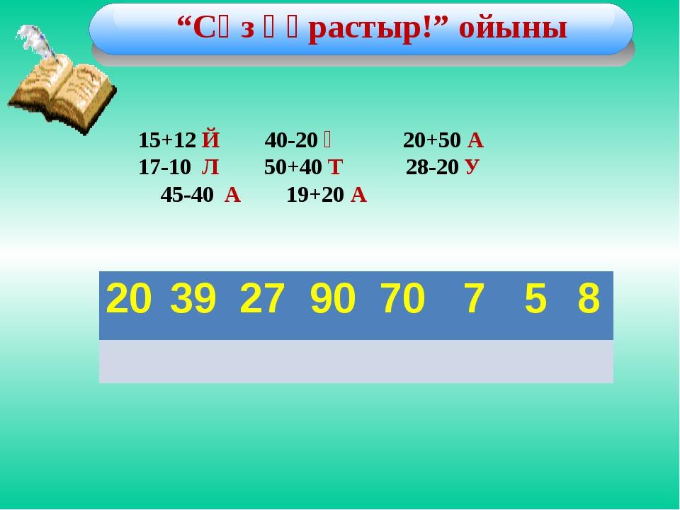 """""""Сөз құрастыр!"""" ойыны         15+12 Й 40-20 Қ 20+50 А 17-10 Л 50+40..."""