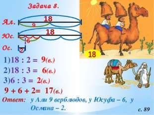 Задача 8. с. 89 Ал. Юс. Ос. 18 18 1)18 : 2 = 9(в.) 9 2)18 : 3 = 6(в.) 6 3)6 :