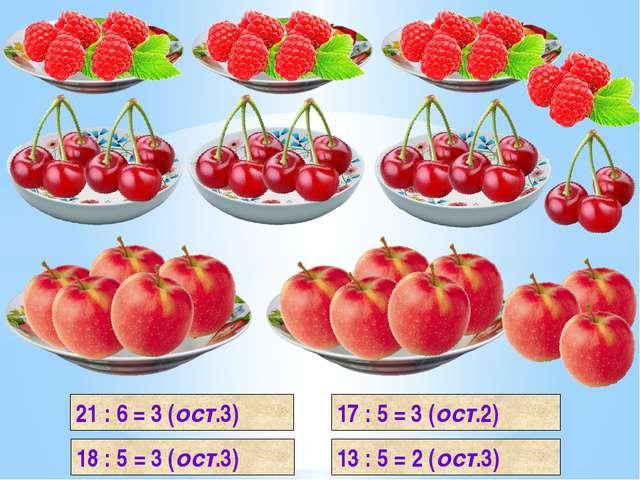 21 : 6 = 3 (ост.3) 18 : 5 = 3 (ост.3) 17 : 5 = 3 (ост.2) 13 : 5 = 2 (ост.3)