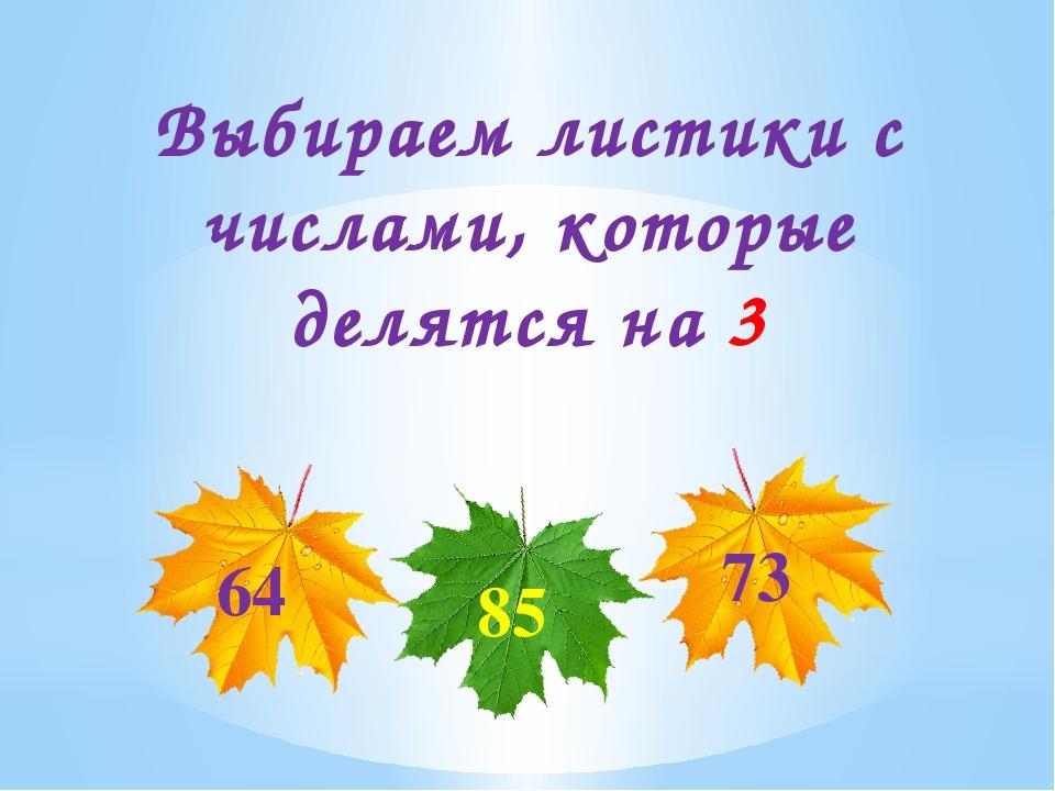 Выбираем листики с числами, которые делятся на 3 64 73 85