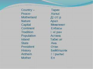 Country – Тарих Peace- Халық Motherland Дәстүр Nature Арал Capital Мемлекет C