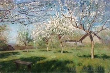 Исаак Левитан. Цветущие яблони. Isaac Levitan. Blossoming apple-trees.