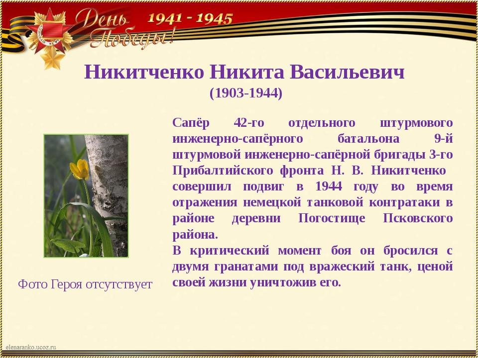Никитченко Никита Васильевич (1903-1944) Сапёр 42-го отдельного штурмового ин...