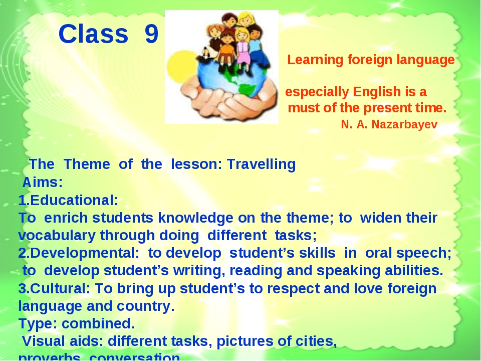 Class 9 Learning foreign language especially English is a must of the presen...