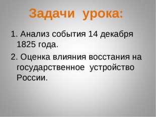 Задачи урока: 1. Анализ события 14 декабря 1825 года. 2. Оценка влияния восс