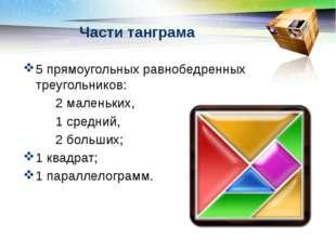 Части танграма 5 прямоугольных равнобедренных треугольников: 2 маленьких, 1 с
