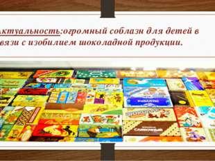 Актуальность:огромный соблазн для детей в связи с изобилием шоколадной продук