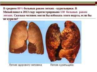 В среднем 80% больных раком легких - курильщики. В Михайловке в 2013 году зар