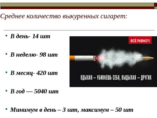 Среднее количество выкуренных сигарет: В день- 14 шт В неделю- 98 шт В месяц-...