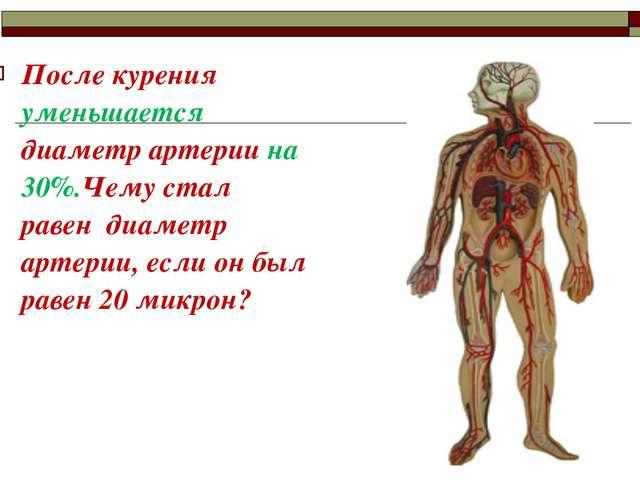 После курения уменьшается диаметр артерии на 30%.Чему стал равен диаметр арте...