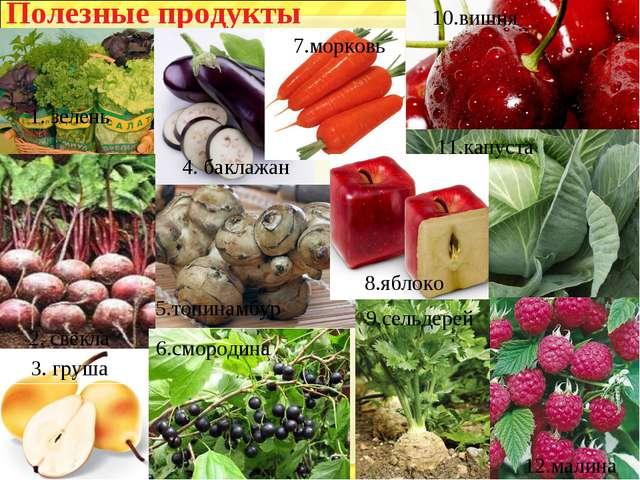 Полезные продукты 1. зелень 4. баклажан 7.морковь 2. свёкла 3. груша 5.топина...