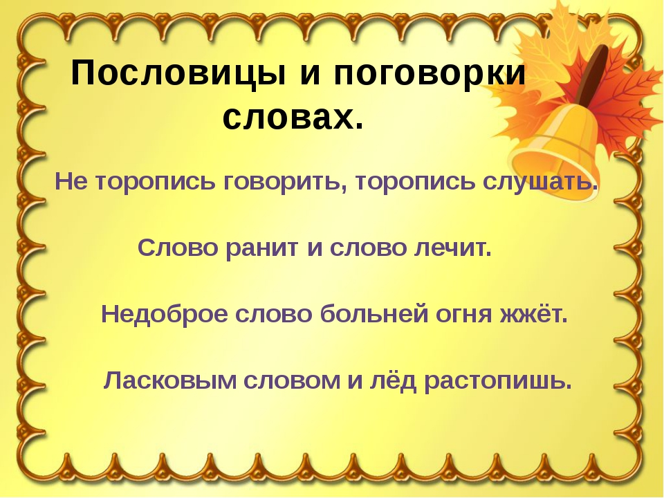 Пословицы и поговорки словах. Не торопись говорить, торопись слушать. Слово р...
