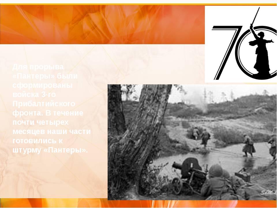 Для прорыва «Пантеры» были сформированы войска 3-го Прибалтийского фронта. В...