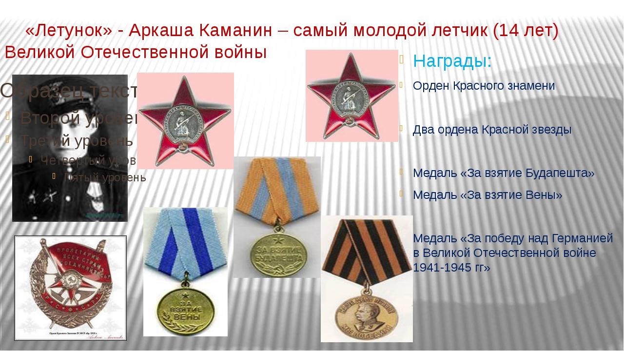 «Летунок» - Аркаша Каманин – самый молодой летчик (14 лет) Великой Отечестве...