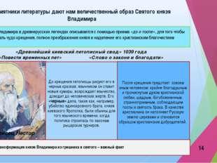 Памятники литературы дают нам величественный образ Святого князя Владимира «Д