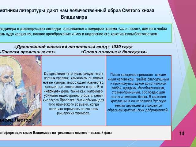 Памятники литературы дают нам величественный образ Святого князя Владимира «Д...