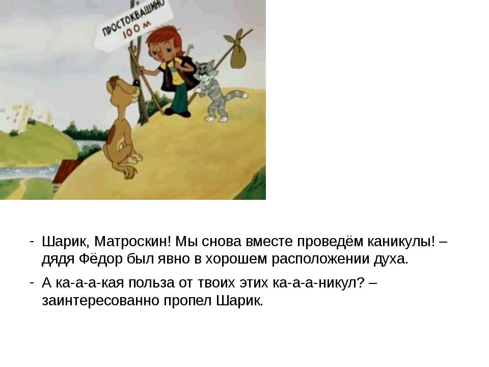 Шарик, Матроскин! Мы снова вместе проведём каникулы! – дядя Фёдор был явно в...