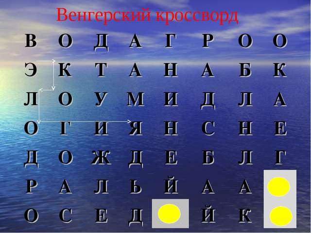 Венгерский кроссворд ВОДАГРОО ЭКТАНАБК ЛОУМИДЛА ОГИЯ...