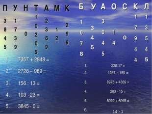 ПУНТАМК 3 8 4 51 7 3 901 0 2 0 52 3 6 91 22 9 9 1.7357 + 2848 =