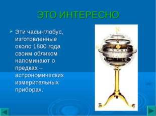 ЭТО ИНТЕРЕСНО Этичасы-глобус, изготовленные около 1800 года своим обликом на