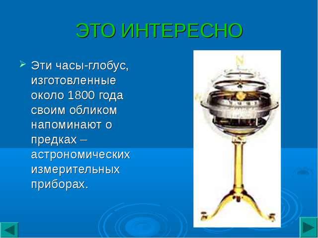 ЭТО ИНТЕРЕСНО Этичасы-глобус, изготовленные около 1800 года своим обликом на...