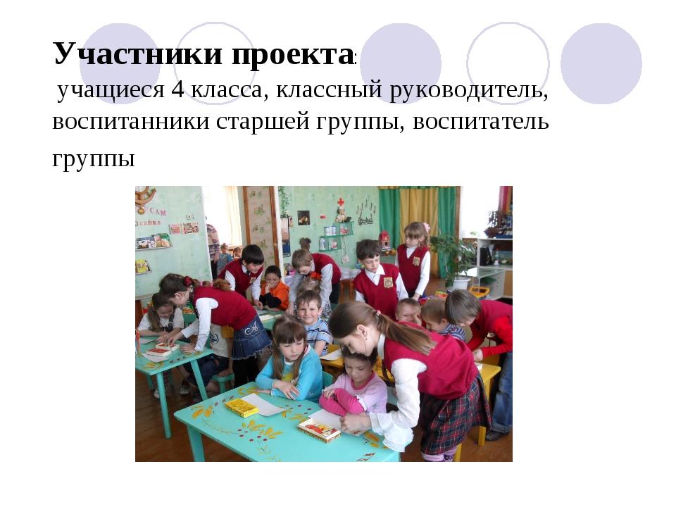 Участники проекта: учащиеся 4 класса, классный руководитель, воспитанники ста...