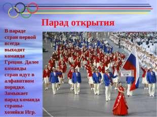 Парад открытия В параде стран первой всегда выходит команда Греции. Далее ком