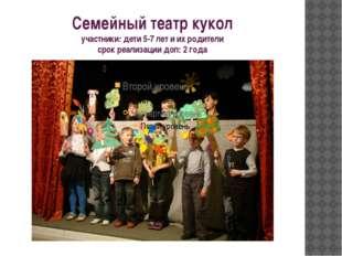 Семейный театр кукол участники: дети 5-7 лет и их родители срок реализации до