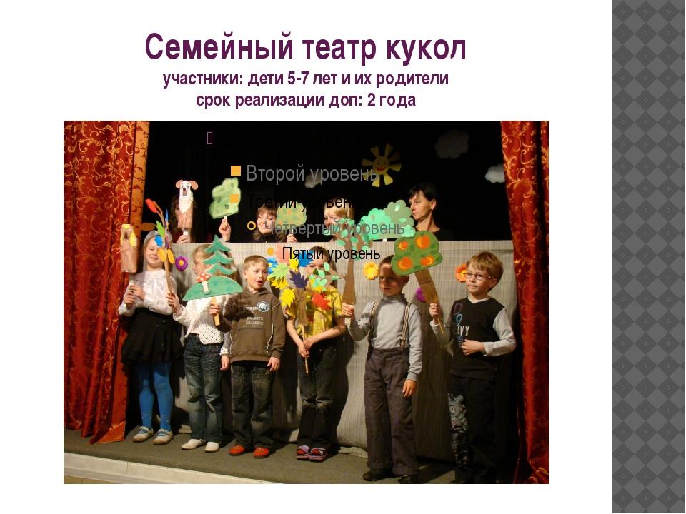 Семейный театр кукол участники: дети 5-7 лет и их родители срок реализации до...