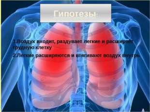 Гипотезы: 1.Воздух входит, раздувает легкие и расширяет грудную клетку 2.Легк
