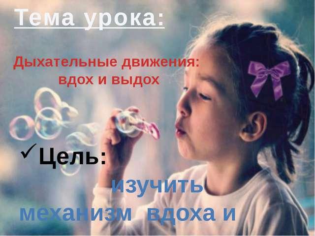 Дыхательные движения: вдох и выдох Тема урока: Цель: изучить механизм вдоха и...