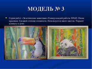 МОДЕЛЬ № 3 Серия работ «Экзотические животные».Размер каждой работы 30X45. Оч