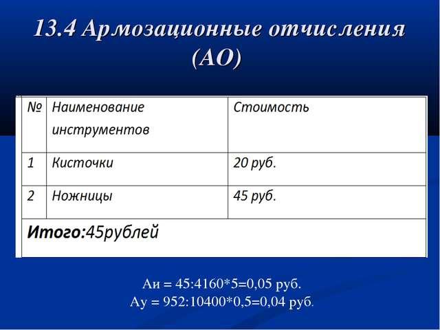 13.4 Армозационные отчисления (АО) Аи = 45:4160*5=0,05 руб. Ау = 952:10400*0,...
