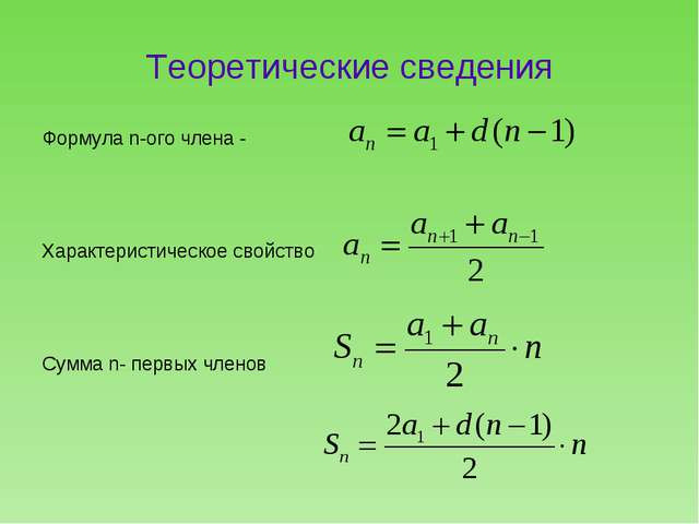 Теоретические сведения Формула n-ого члена - Характеристическое свойство Сумм...