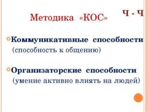Методика «КОС» Коммуникативные способности (способность к общению) Организато
