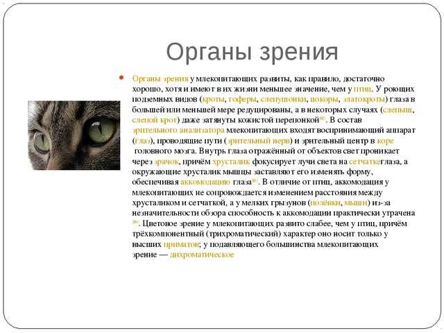 Органы зрения Органы зренияу млекопитающих развиты, как правило, достаточно...
