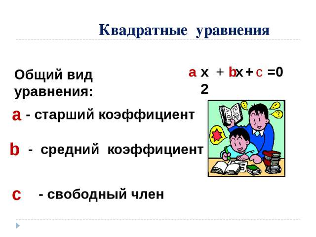 Квадратные уравнения Общий вид уравнения: а b c - cтарший коэффициент - средн...