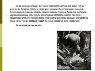 Из-за Дона уже слышен был грохот советского наступления. Витин голубь долет