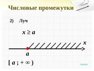 Числовые промежутки 2)Луч x ≥ a x a [ a ; + ∞ ) пример