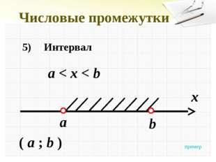 Числовые промежутки 5)Интервал а < x < b x a ( a ; b ) b пример